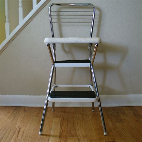 Cosco Retro Chair With Step Stool White by Vintage Cosco Chair Step Stool