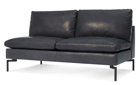 Armless Loveseat Settee by New Standard Armless Leather Sofa Hivemodern