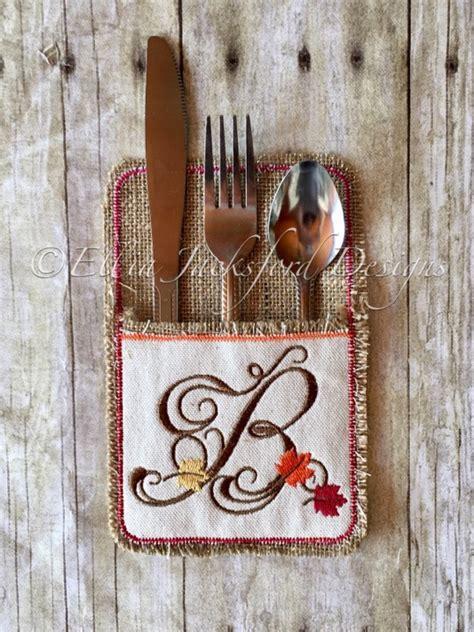 fall monogram  silverware holder single letter  thanksgiving