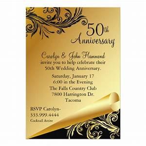black gold 50th wedding anniversary invitation zazzlecom With black and white wedding anniversary invitations