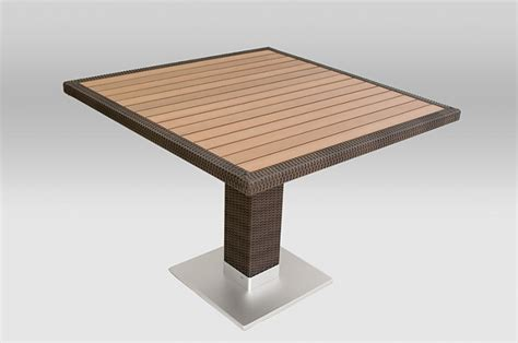 24 quot x 24 quot faux teak outdoor table top with wicker edge