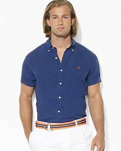 Ralph lauren Polo Custom Fit Short Sleeved Solid Linen ...