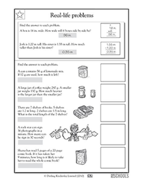4th Grade Math Worksheets Reallife Problems Measures Greatschools
