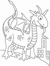 Coloring Dragon Pages Dinosaurs Shape Preschool Dragons Medieval Shapes Prey Looking Castles Crafts Sheets Template Popular sketch template