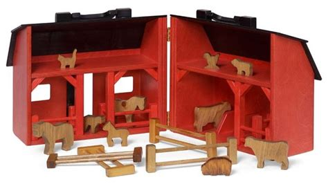 Folding Toy Barn With Farm Animals Fence And Feed Bags
