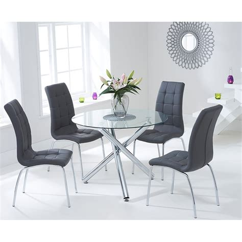 glass table with 4 chairs mark harris odessa 100cm round glass table with 4 grey