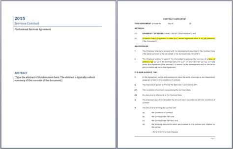 professional services contract template word templates