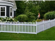 36in High Newport Vinyl Picket Fence wPost and NoDig