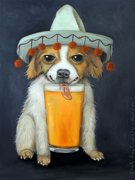chihuahua dog beer sombrero mexican hat brew lick humor