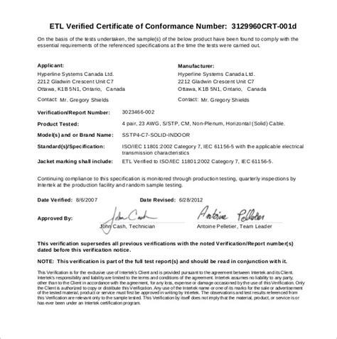 sample certificate  conformance  documents
