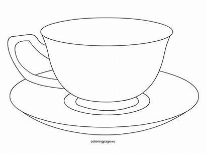 Tea Cup Teacup Coloring Template Saucer Drawing
