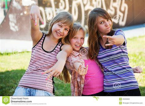 Happy Teen Girls Having Fun Outdoor Stock Photography