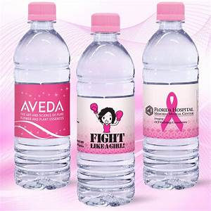 169 oz custom label spring water w pink flat cap clear With clear water bottle labels
