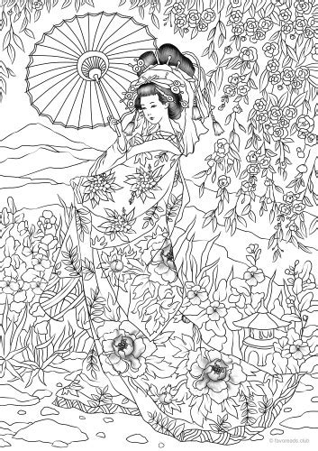 japanese woman printable adult coloring pages  favoreads