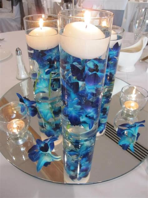 blue centerpiece blue orchid centerpiece the mirror at the bottom wedding ideas pinterest beautiful the