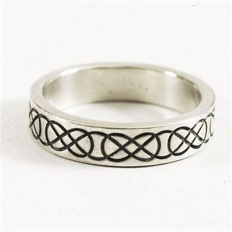stackable celtic wedding ring engraved woven knotwork in
