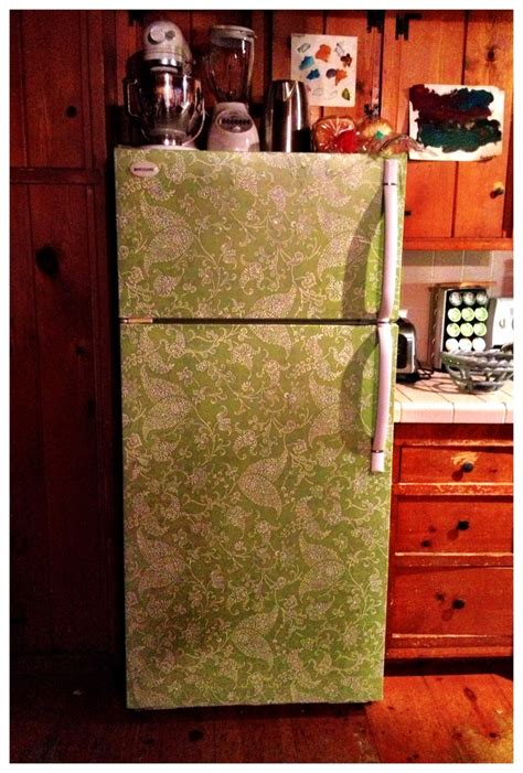 diy cover  scratched dented fridge  contact paper
