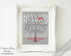 40th wedding anniversary gift 40th anniversary print With 40th wedding anniversary traditional gift