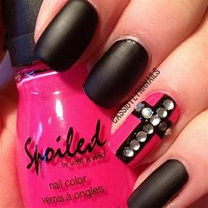 black matte nail polish with pink nail and rhinestone ...