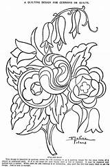 Coloring Quilting Embroidery Flower Quilts Crafts Vintagecraftsandmore sketch template