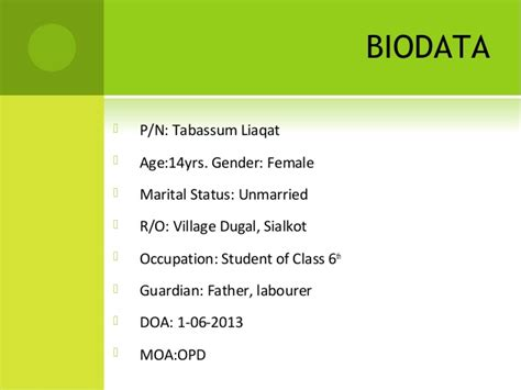 Bio Data Sle by Sle By Dr Qudsia