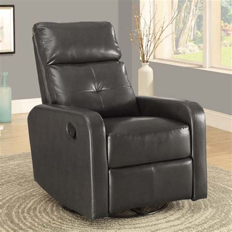 leather swivel glider recliner  charcoal gray igy