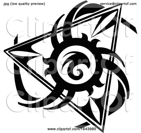 black  white tribal triangle tattoo design  morphart