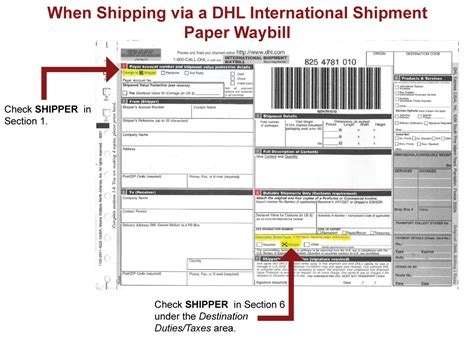 dhl shipment waybill form international shipping information duncan aviation