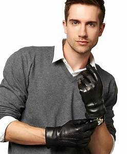 Men's Italian Cashmere Lined Leather Gloves With Black Fur ...  Men