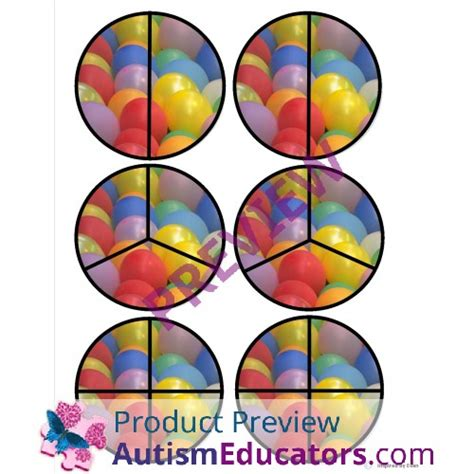birthday cake fraction circles  autism