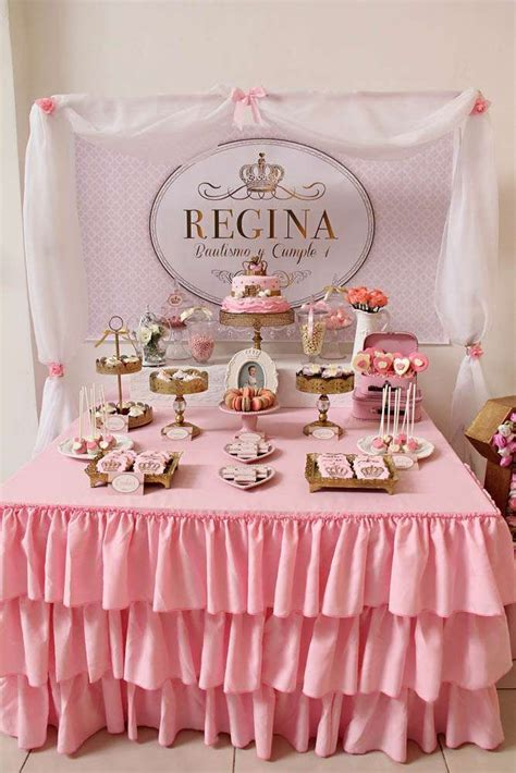 royal pink  gold birthday party dessert table