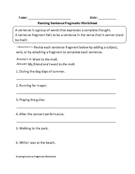 revising sentence fragments worksheet beginner