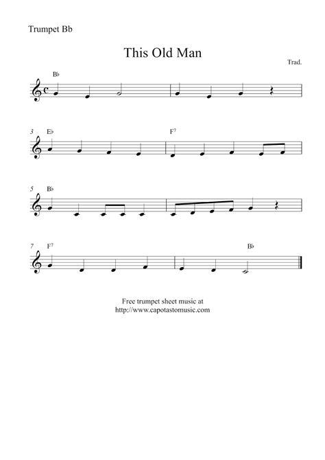 Free printable christmas song sheet music for trombone. Free trumpet sheet music   This Old Man