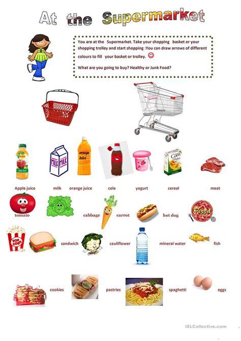 supermarket english esl worksheets  distance