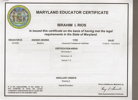 maryland department of education certification areas