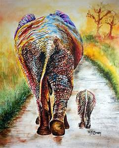 Elephant painting of mother and baby elephant. Watercolor