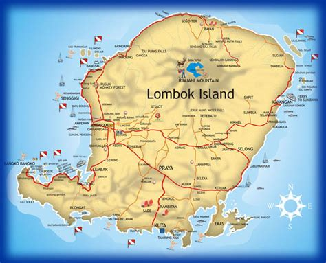 lombok map  travel information   lombok map