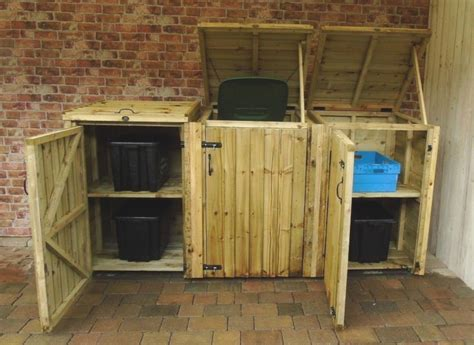 wheelie bin dust bin recycling shelter natural size