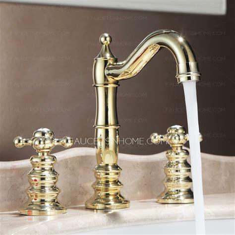 vintage sink faucets vintage polished brass finish widespread bathroom sink faucets