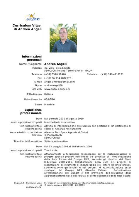 Curriculum Vitae Excel Formato Europeo by Curriculum Vitae Andrea Angeli