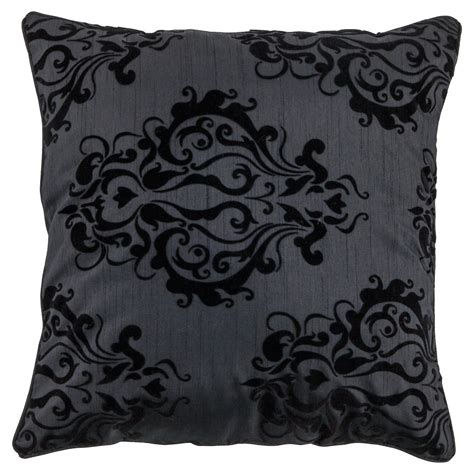 tesco flocked damask cushion cover black