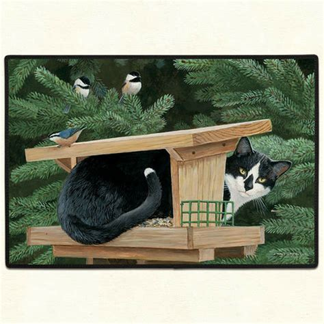 doormat cat door mats quot cat in bird house quot door mat cat welcome mat