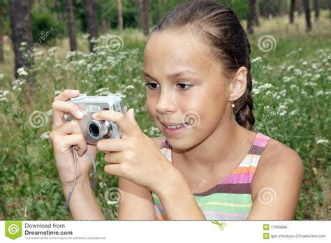 Preteen Girl With Digital Camera Stock Image Image Of Beauty Camera 11009985