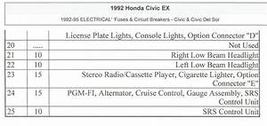 1993 Honda Civic Fuse Box