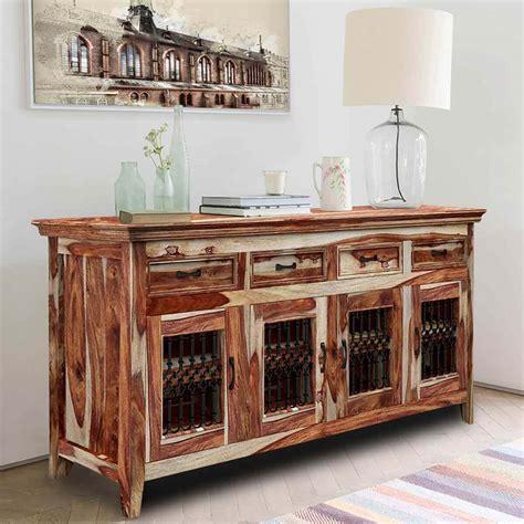 Rustic Sideboards by Peoria Modern Rustic Solid Wood 4 Door 4 Drawer Buffet
