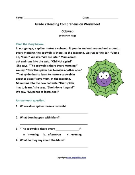 comprehension reading worksheets for 2nd grade fresh