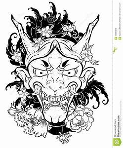 Demon Japonais Dessin : japanese demon mask tattoo for drawn oni mask with cherry blossom and peony flower ~ Maxctalentgroup.com Avis de Voitures