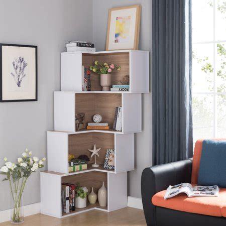 Contemporary Corner Bookcase by Furniture Of America Pirra Contemporary Tiered Corner