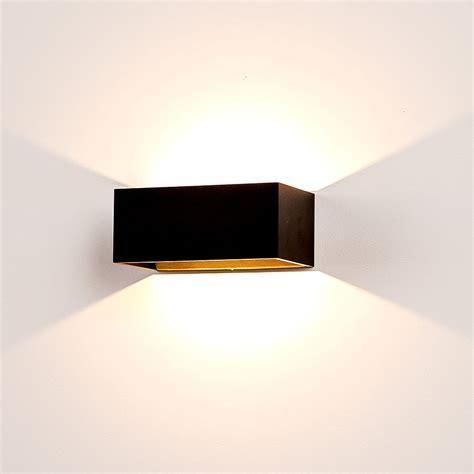 mia 9 watt 240v led up down wall light matt black warm