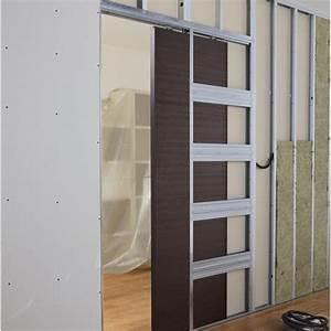 Poser Bloc Porte Entre 2 Murs : comment poser une porte coulissante galandage leroy ~ Dailycaller-alerts.com Idées de Décoration